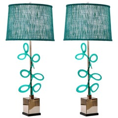 Italian Pair of Silver Color Nickel Lamps with Aqua Blue Murano Glass Swirls