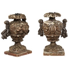 Italian Pair of Smaller-Sized Carved Wood Urn-Shaped Candleholders