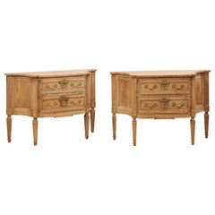 Italian Pair of Two-Drawer Raised Console Chests, Neoclassical Style Carvings