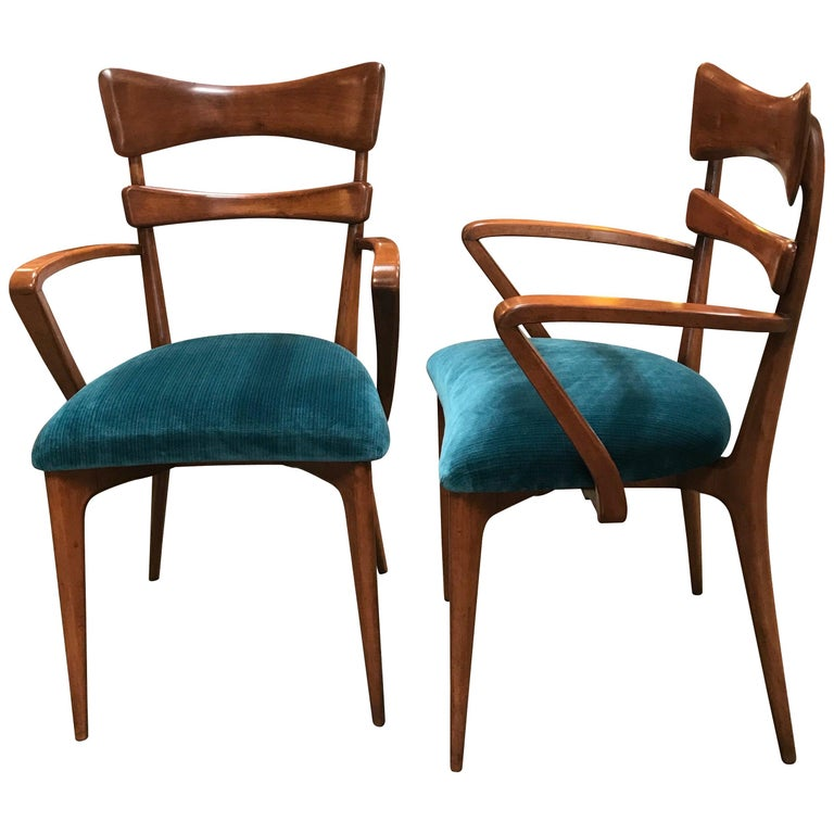 Italian Pair of Very Rare Attributed to Ico Parisi Armchairs, 1950s For Sale