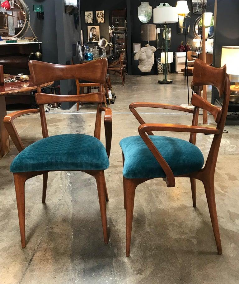 Italian pair of very rare attributed to Ico Parisi armchairs, 1950s.