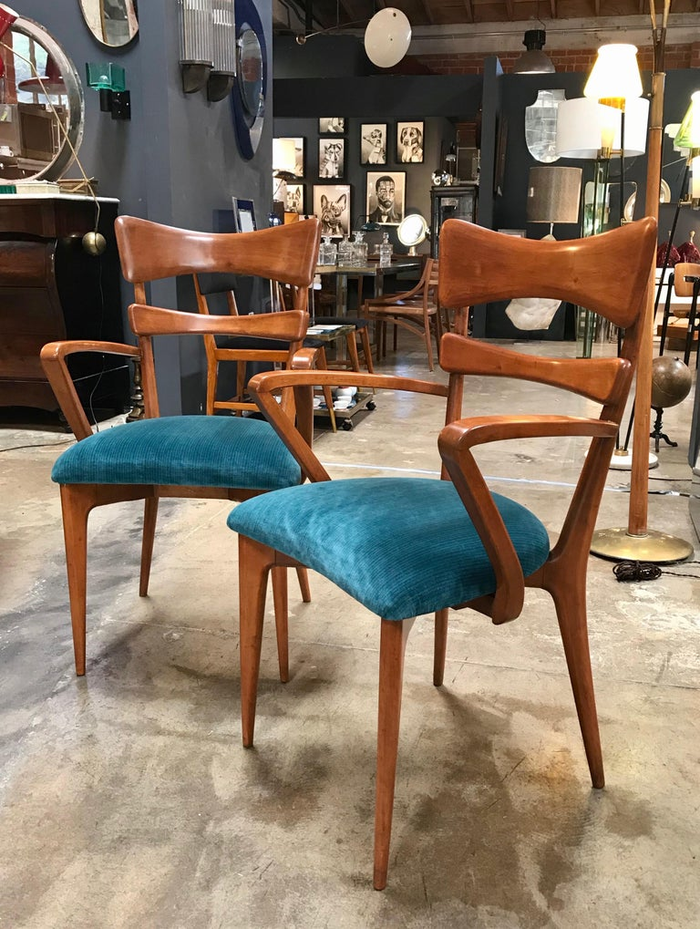 Mid-Century Modern Italian Pair of Very Rare Attributed to Ico Parisi Armchairs, 1950s For Sale