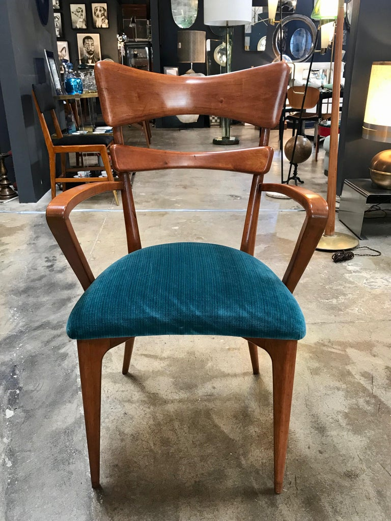 Hand-Crafted Italian Pair of Very Rare Attributed to Ico Parisi Armchairs, 1950s For Sale