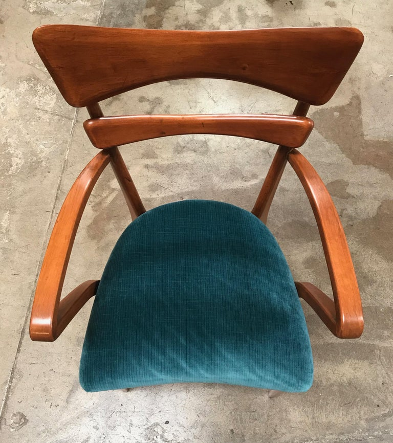 Mid-20th Century Italian Pair of Very Rare Attributed to Ico Parisi Armchairs, 1950s For Sale