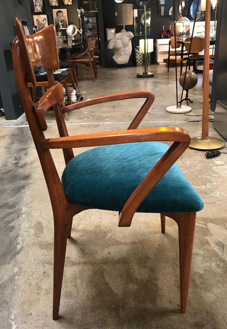 Fabric Italian Pair of Very Rare Attributed to Ico Parisi Armchairs, 1950s For Sale