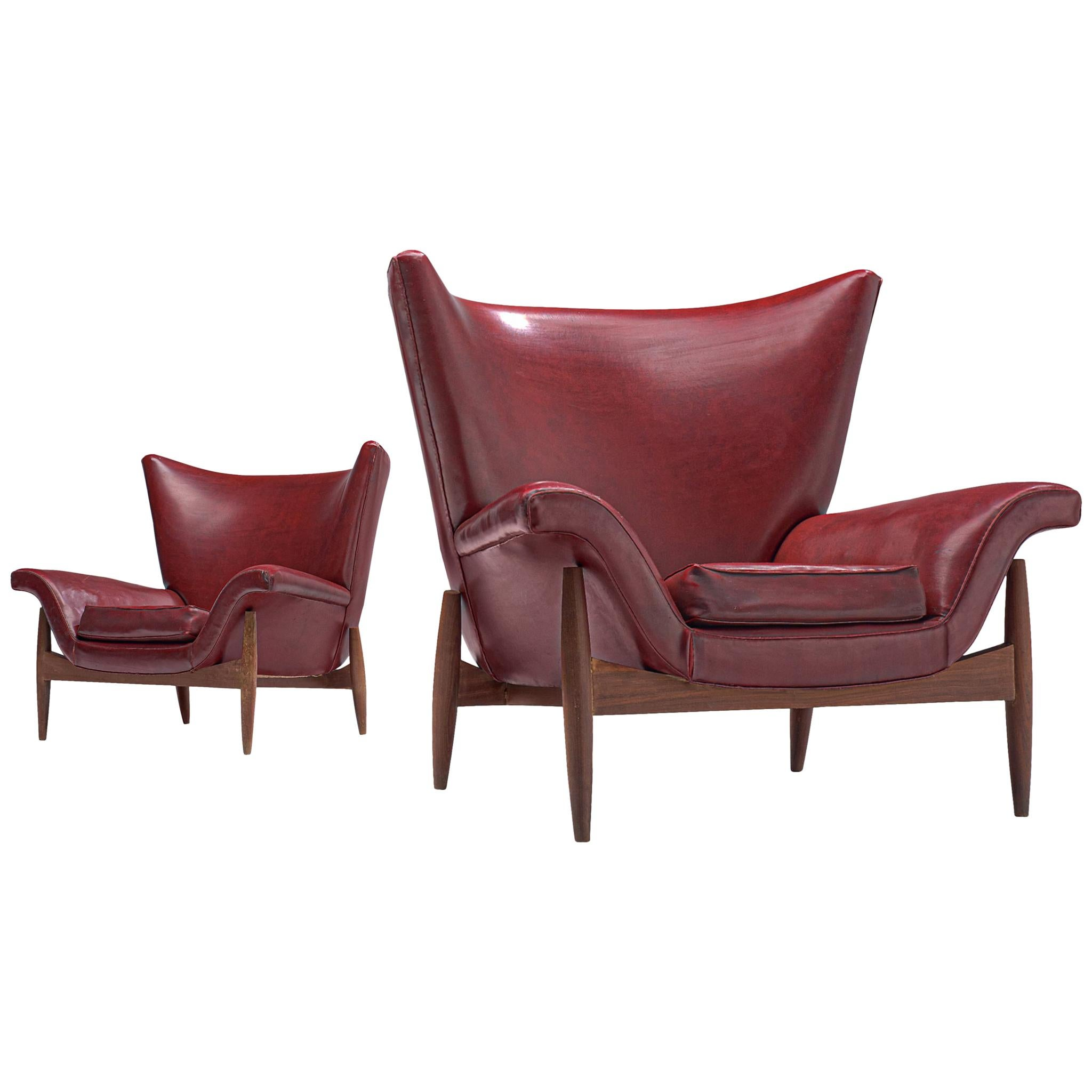 Italian Pair of Wingback Chairs in Burgundy Leatherette