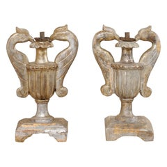 Italian Pair of Wood Candle Lamp Urns with Carved Bird Handles, 19th Century