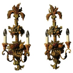 Italian Pair of Wooden Polychrome Twin Arm Wall Lights