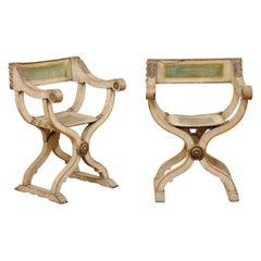 Italian Pair Savonarola Painted Leather & Wood Chairs, Mid-19th Century