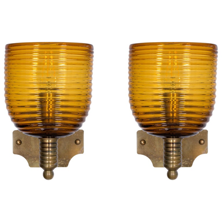 Italian Pairs of Amber Sconces in Blown Murano Glass Antique Brass Frame, 1960s For Sale