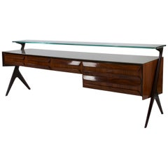Italian Palisander Satined Glass Sideboard, Manufactured by Dassi Lissone, 1953