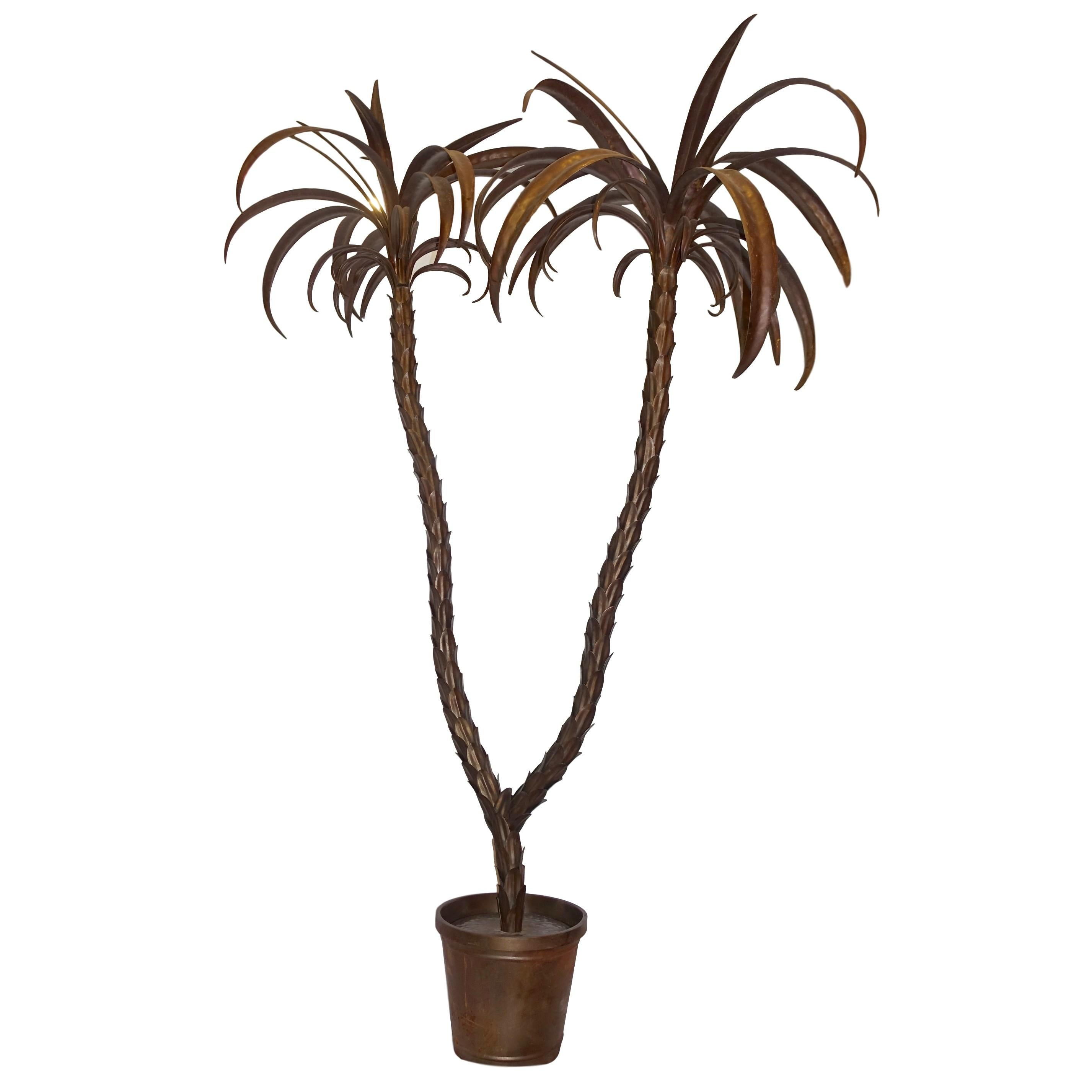 Hammered Metal Life-Size Palm Tree