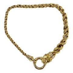 Italian Panther Head Clasp 18 Karat Yellow Gold Graduated Link Estate Necklace