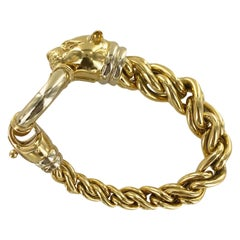Italian Panther Head Clasp 18 Karat Yellow Gold Twisted Link Estate Bracelet