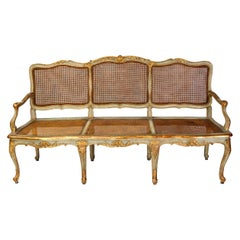 Italian Parcel-Gilt and Painted Canape or Sofa, 18th Century