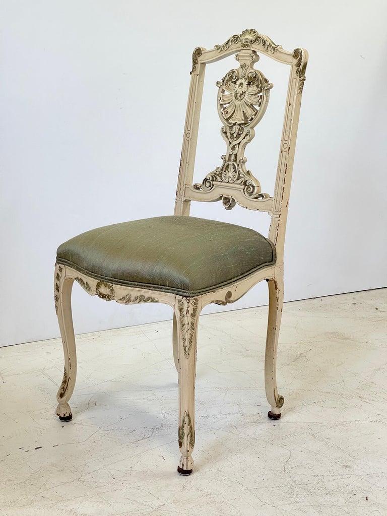 Louis XV Italian Parcel Gilt Vanity Chair For Sale