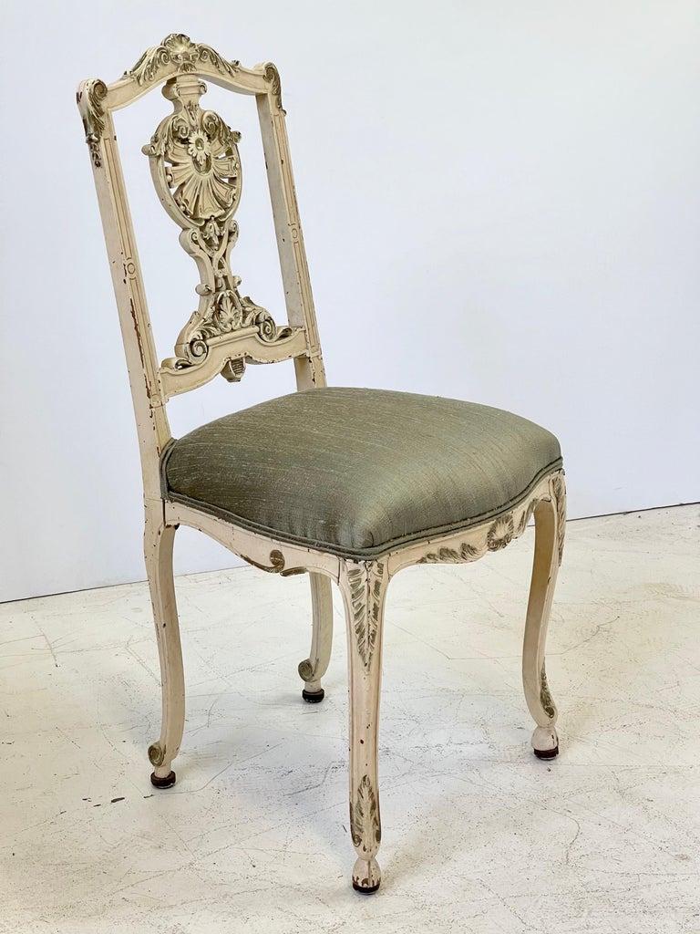 Wood Italian Parcel Gilt Vanity Chair For Sale