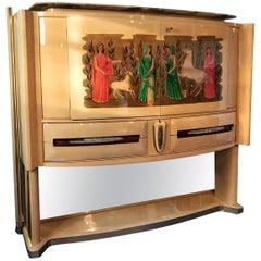 Italian Parchment Bar Cabinet by Vittorio Dassi, 1940s