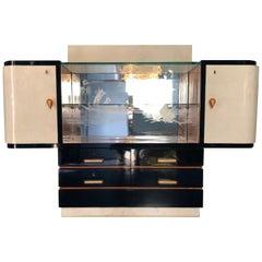 Italian Parchment Vetrine Sideboard, 1950s