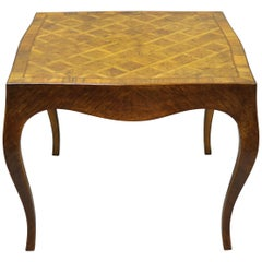 Italian Parquetry Inlay Olivewood Square Coffee Side Table in Louis XV Style