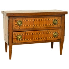 Italian Parquetry Louis XVI Style Two-Drawer Miniature Commode