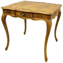Italian Patchwork Burl Olivewood French Louis XV Style Card Game Table