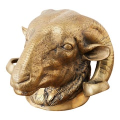 Italian Patinated Brass Big Horn Ram's Head