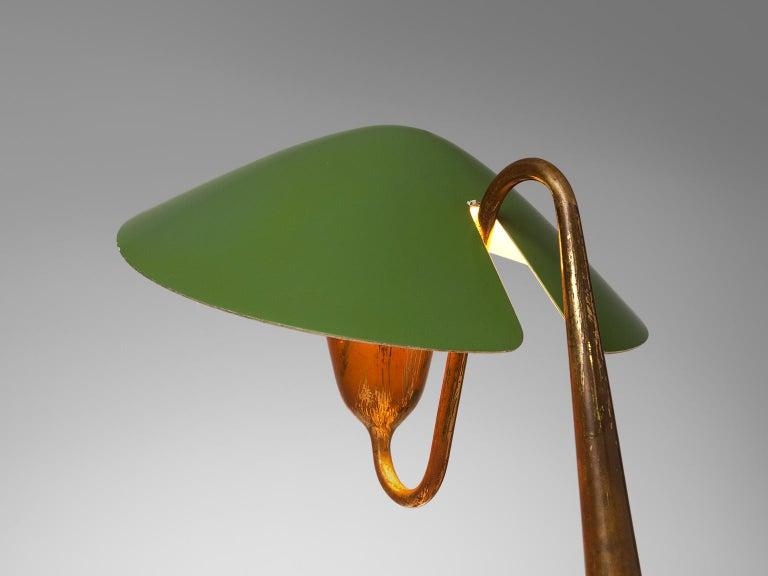 Italian Patinated Brass Desk Light, circa 1950 In Good Condition In Waalwijk, NL