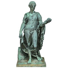 Italian Patinated Bronze Statue, Signed and Dated