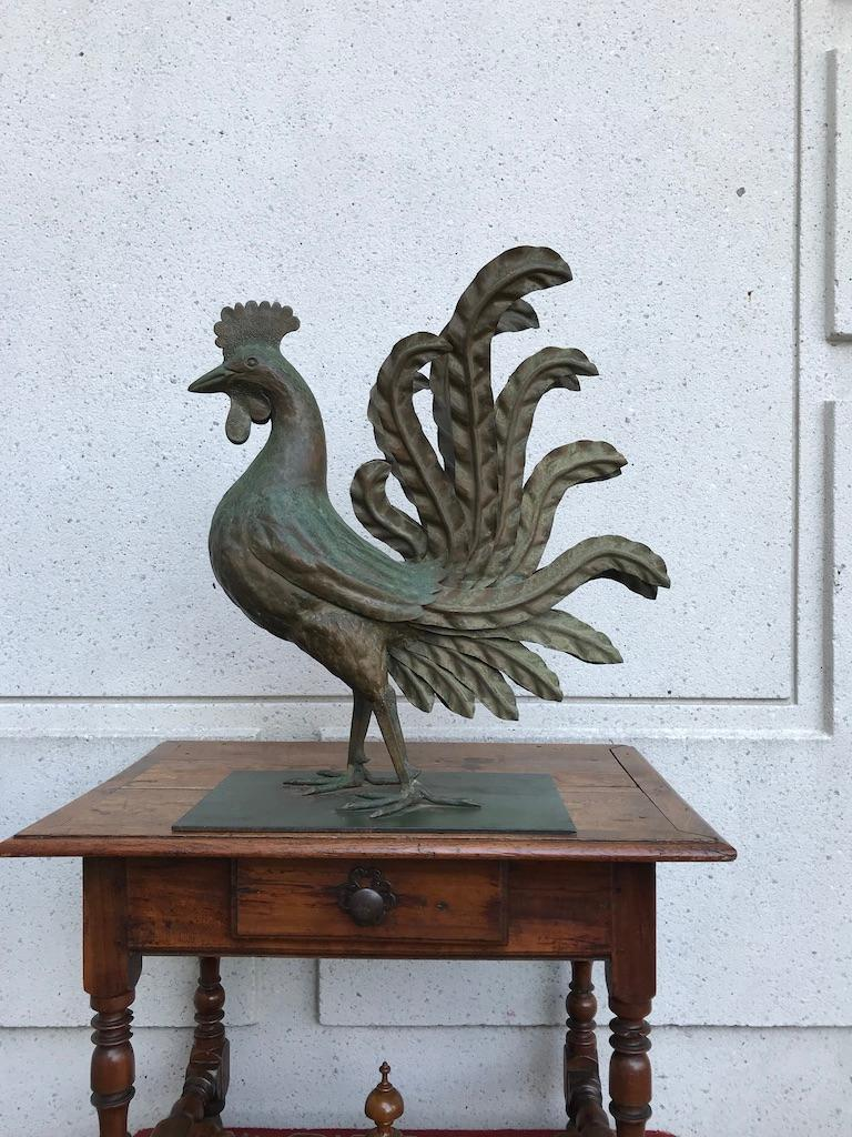 Italian Patinated Wrought Iron Rooster For Sale 8