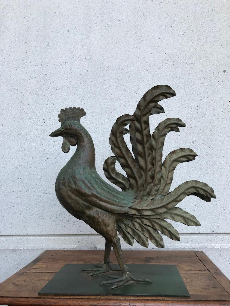 Italian Patinated Wrought Iron Rooster For Sale 9