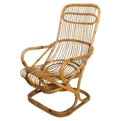 Italian Patio Golden Woven Rattan & Bamboo Comfy Lounge Chair Modern Italy 1950s