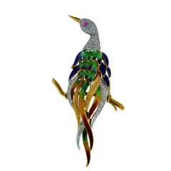 Italian Peacock on a Branch 18 Karat Yellow Gold Brooch Pin