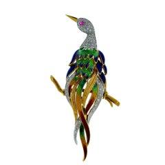 Italian Peacock on a Branch 18 Karat Yellow Gold Brooch Pin