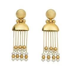 Italian Pearl and 18 Karat Gold Fringe Earrings