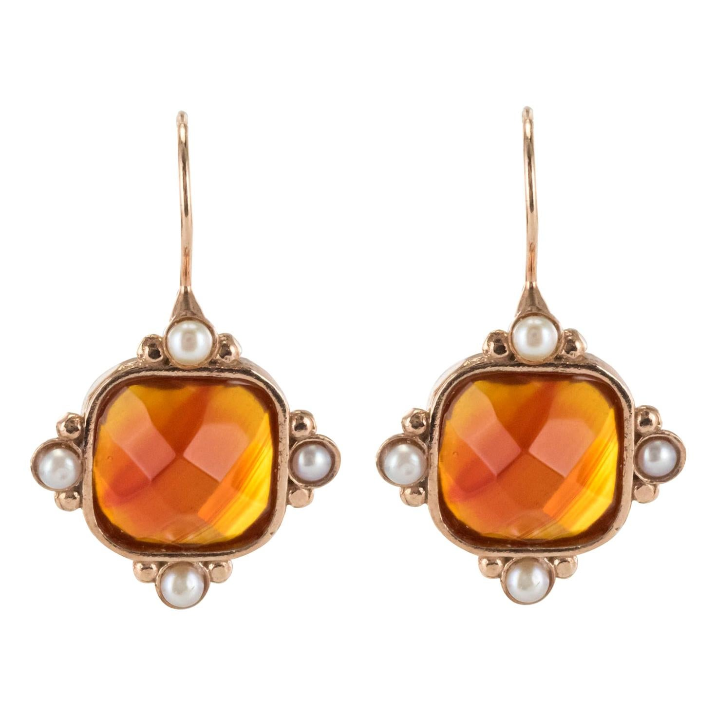 Italian Pearls and Faceted Crystal Vermeil Drop Earrings