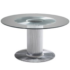 Italian Pedestal Dining Table in Chrome and Glass