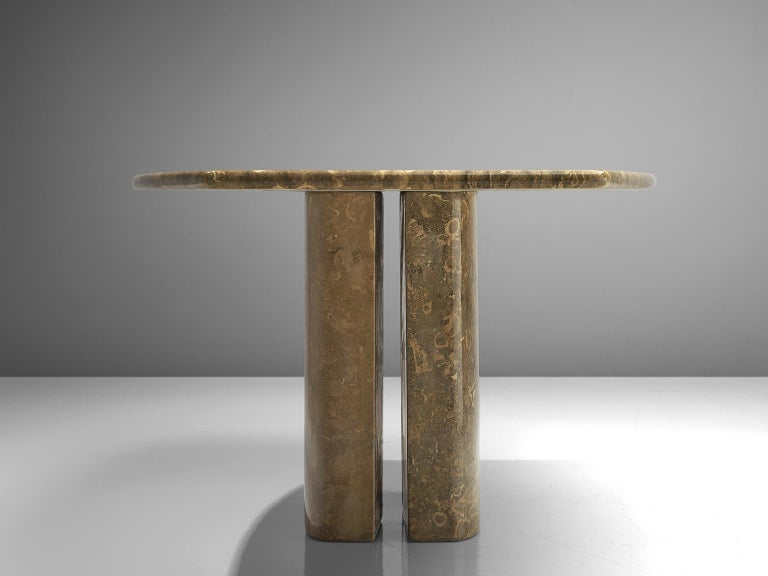 Late 20th Century Italian Pedestal Dining Table in Marble For Sale