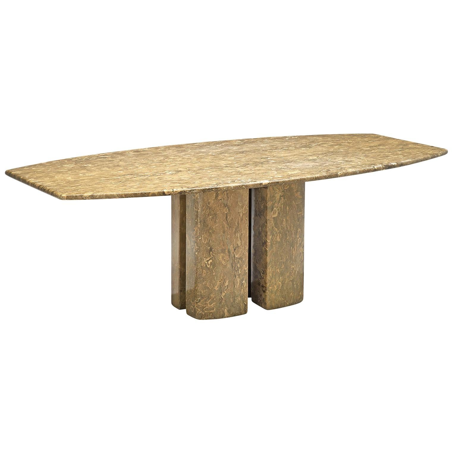 Italian Pedestal Dining Table in Marble