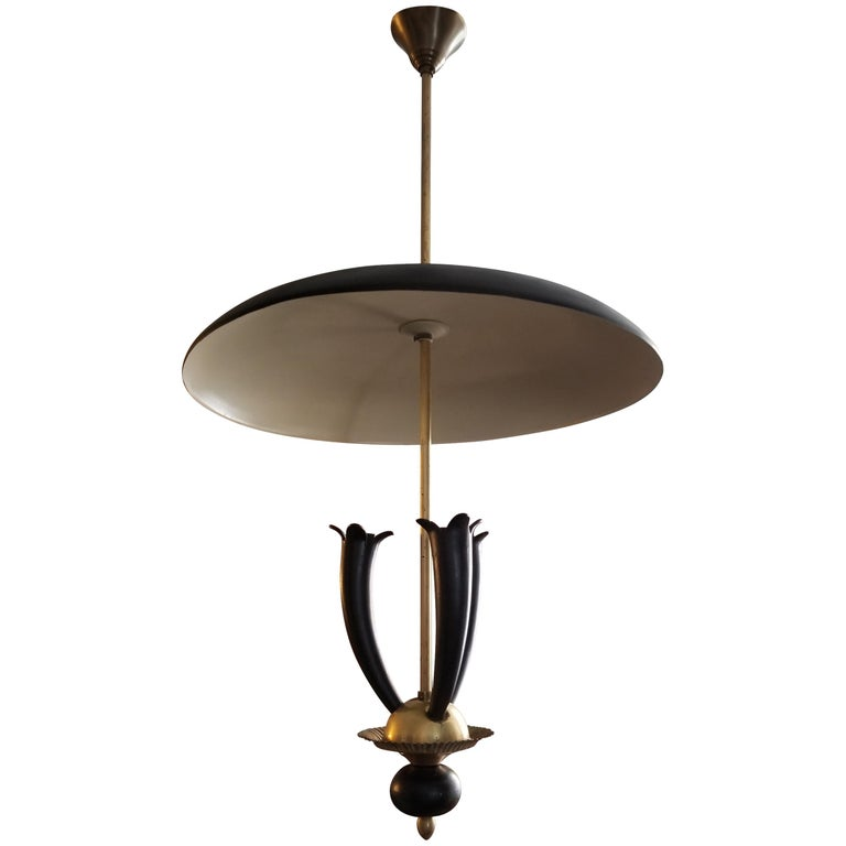 Italian 1940 s pendant, brass base and metal shade attributed to Guglielmo Ulrich.