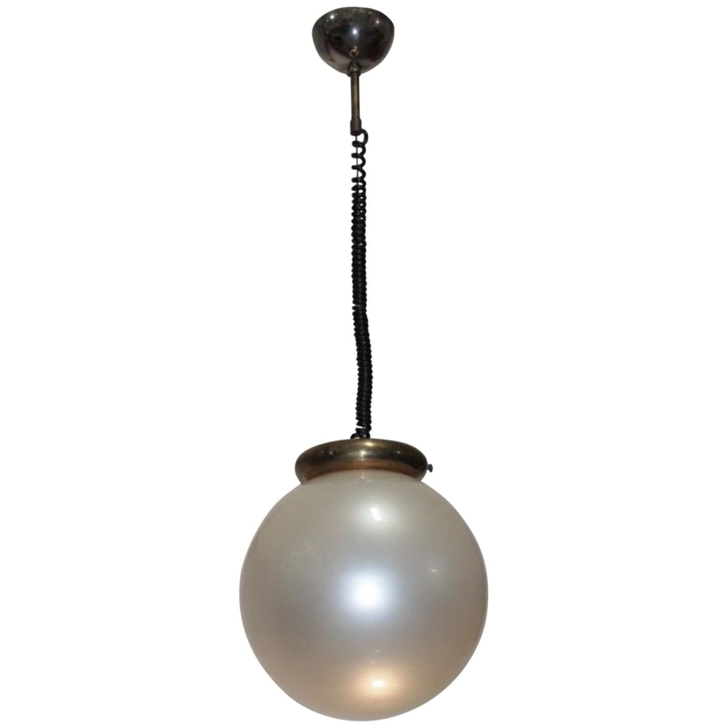 "Italian Pendant Lamp 1950s ""pearl"" Glass"