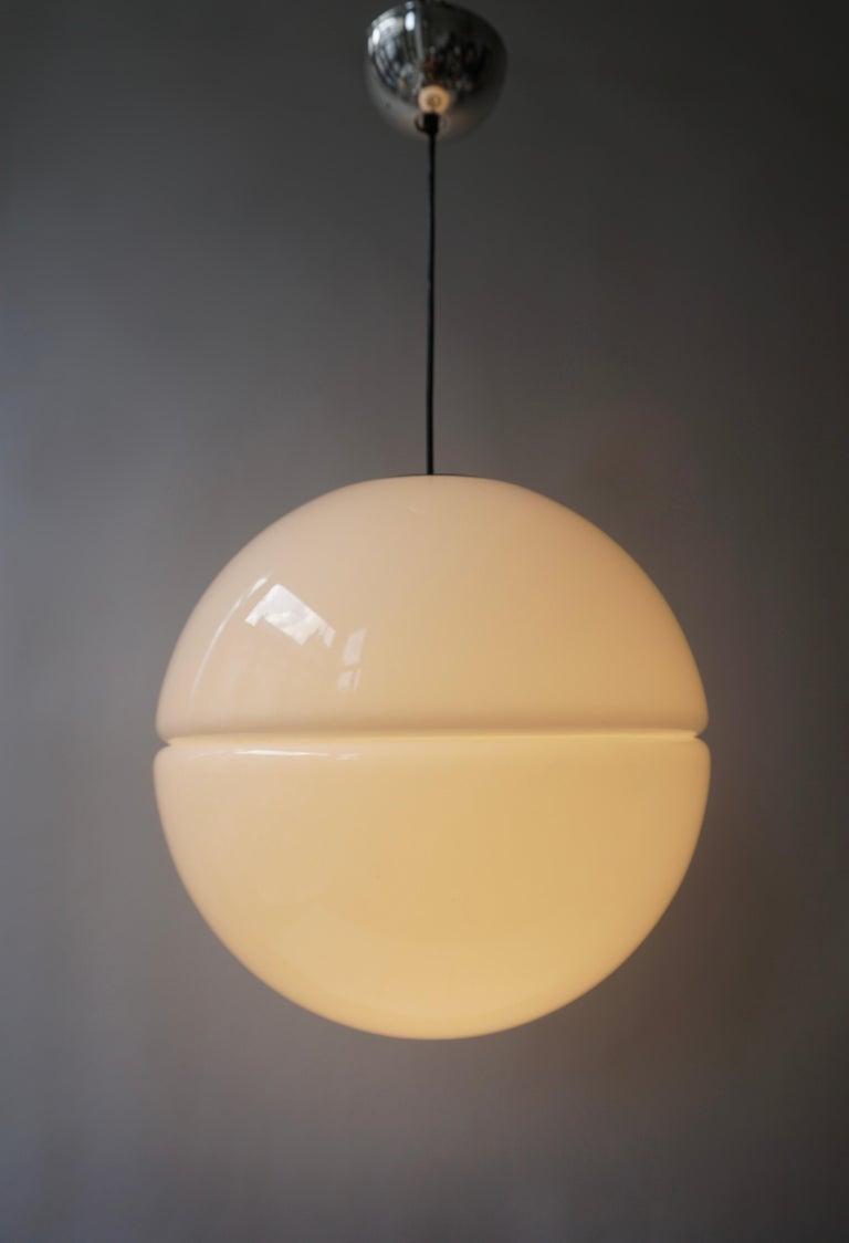 Italian Pendant Lamp by Harvey Guzzini White Plastic Chrome, 1960s For Sale 7