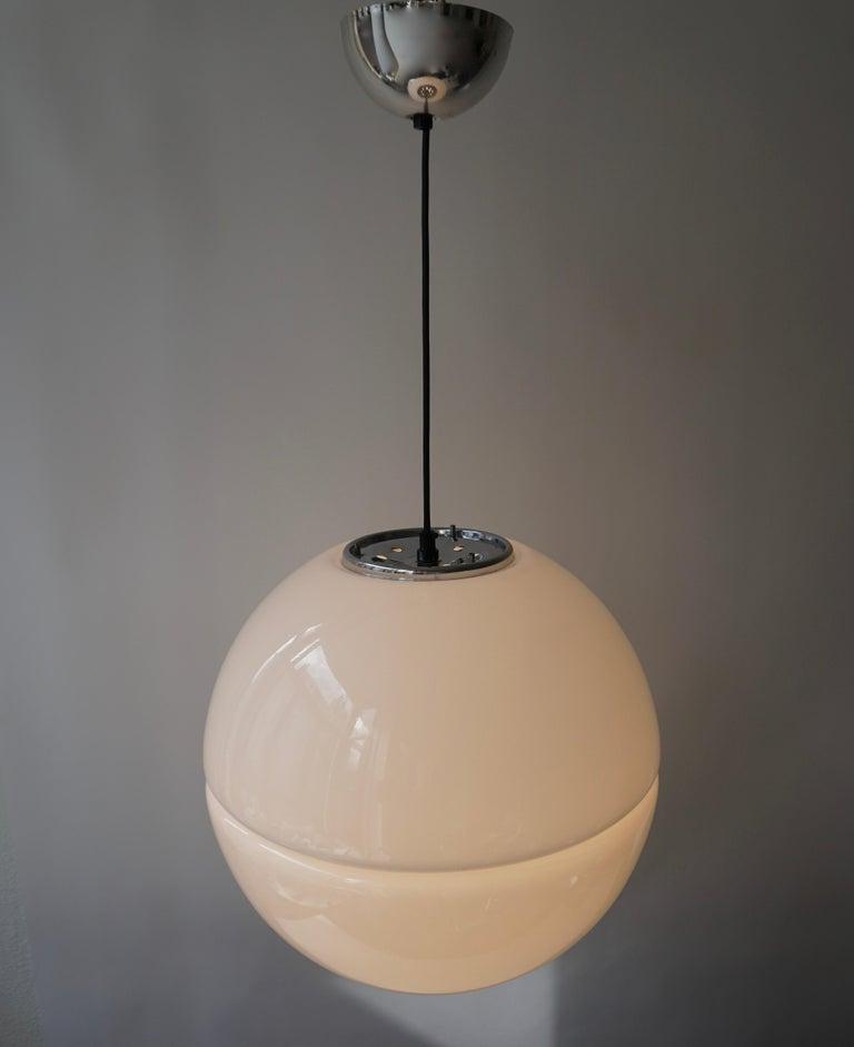 Italian Pendant Lamp by Harvey Guzzini White Plastic Chrome, 1960s For Sale 8