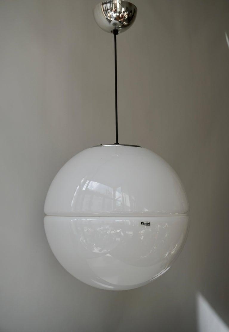 Mid-Century Modern Italian Pendant Lamp by Harvey Guzzini White Plastic Chrome, 1960s For Sale