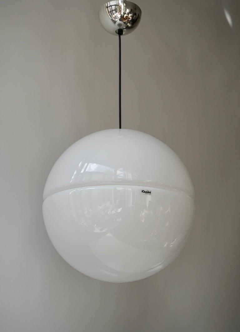 20th Century Italian Pendant Lamp by Harvey Guzzini White Plastic Chrome, 1960s For Sale