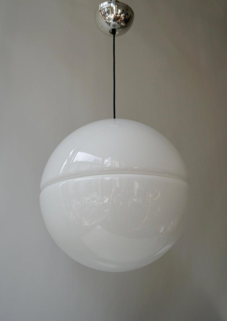 Italian Pendant Lamp by Harvey Guzzini White Plastic Chrome, 1960s For Sale 1
