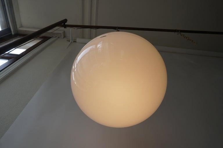 Italian Pendant Lamp by Harvey Guzzini White Plastic Chrome, 1960s For Sale 2