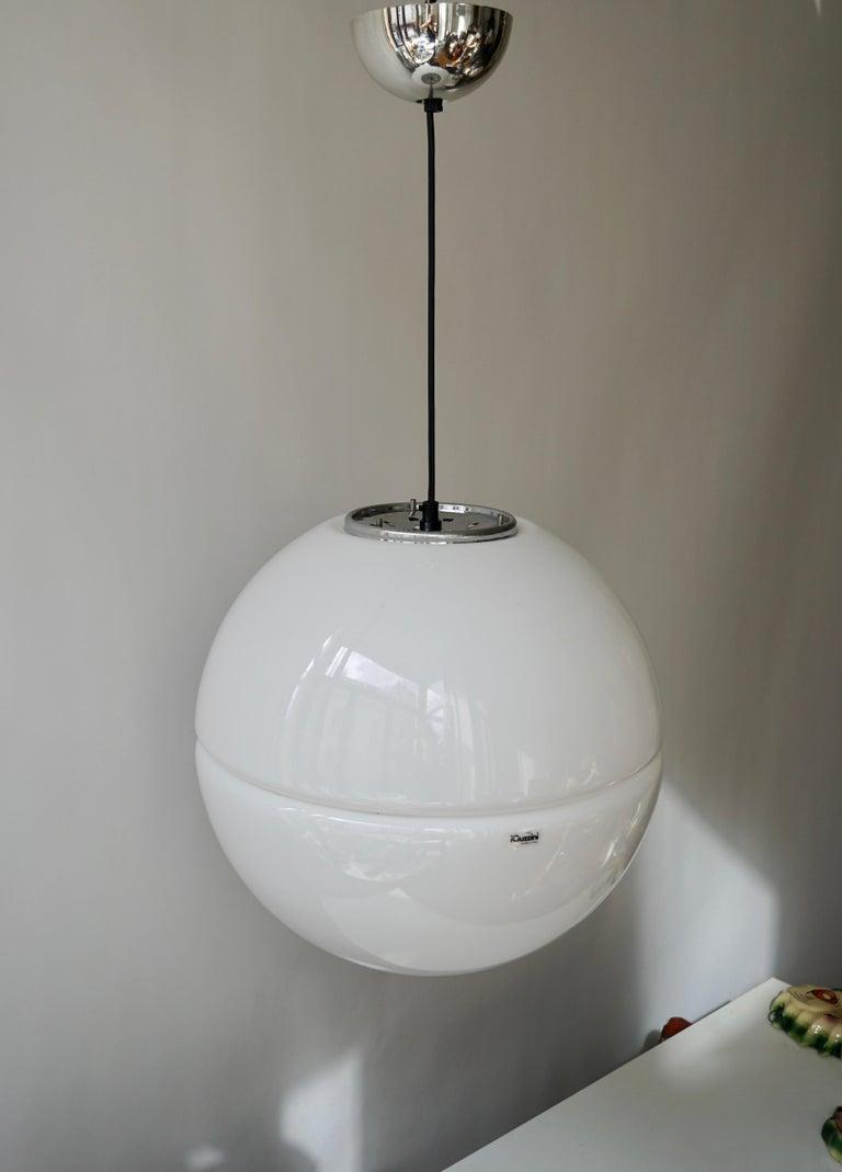 Italian Pendant Lamp by Harvey Guzzini White Plastic Chrome, 1960s For Sale 3