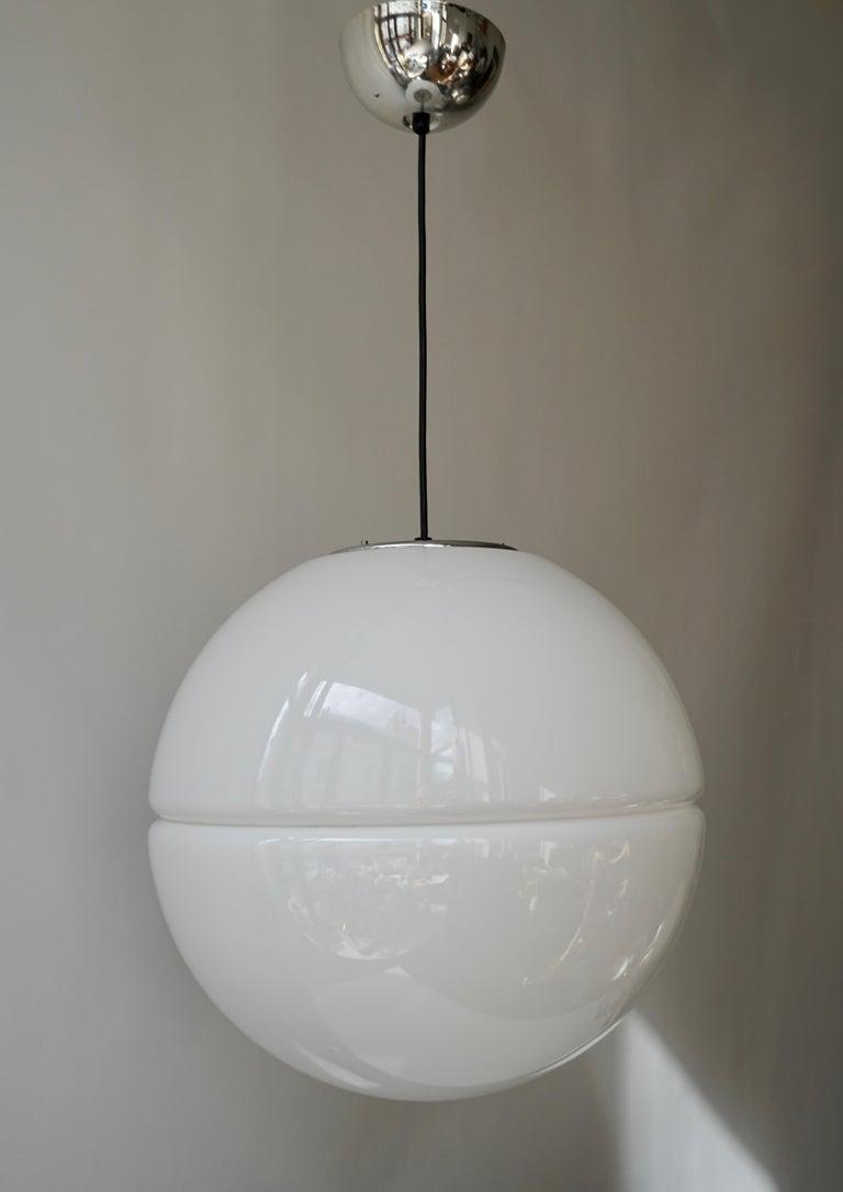 Italian Pendant Lamp by Harvey Guzzini White Plastic Chrome, 1960s For Sale 4