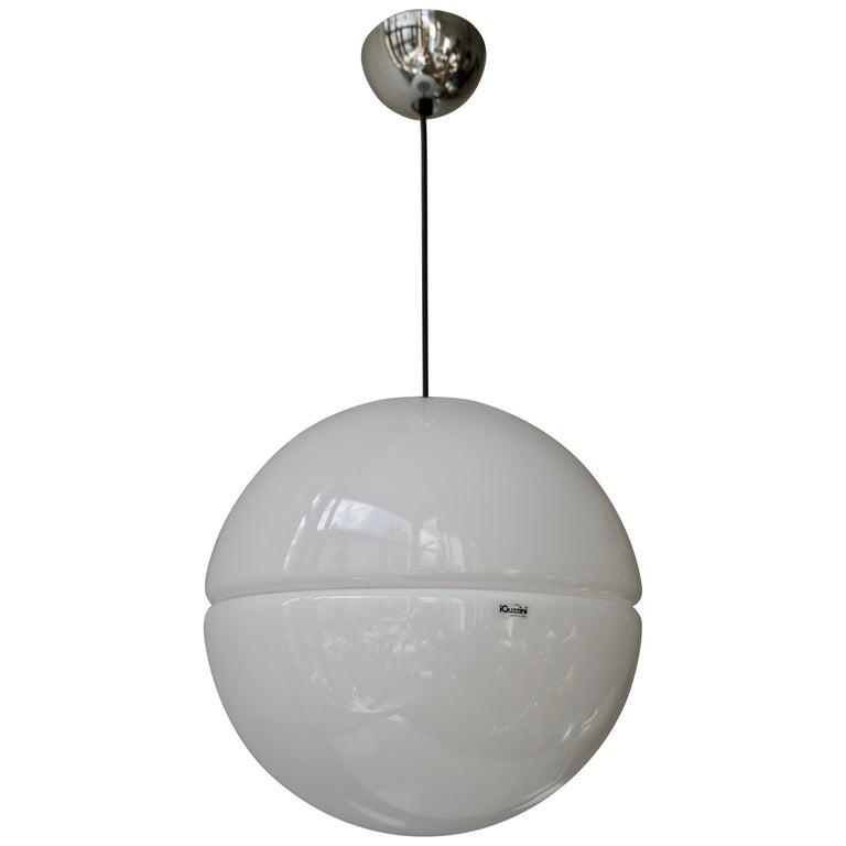 Italian Pendant Lamp by Harvey Guzzini White Plastic Chrome, 1960s For Sale